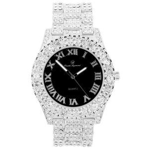 Bling-ed Out Round Watches - ST10327 Silver/Black